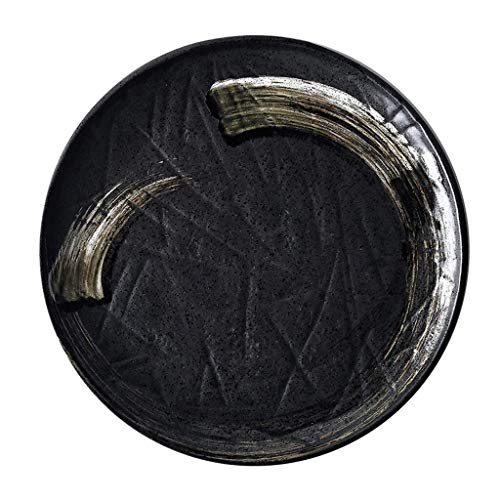NJIUHB Obstteller, Retro bereifte Unregelmäßige Baum Grain Keramik-Platte.European Style Western-Stil Big Sushi Teller, Pizza Teller, Fischplatte, 12 * 1.2in (Color : Black, Size : 30.5 * 30.5 * 3CM)