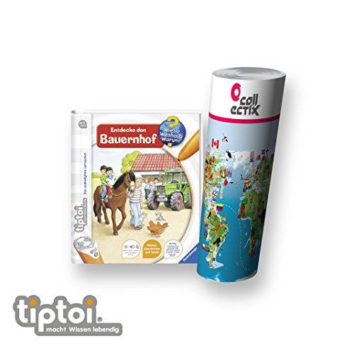 Ravensburger tiptoi ® Buch | Entdecke den Bauernhof + Kinder Weltkarte - Länder, Tiere, Kontinente