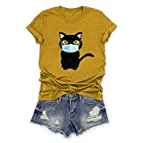 FONMA Women's O-Neck Cartoon Cat T-Shirt Printed Short Sleeve Sexy Tops Blouses Yellow
