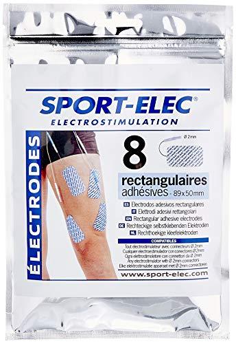 Sport-Elec - Electrodos rectangulares (8 Unidades, 89 x 50 mm), Color Azul y Blanco