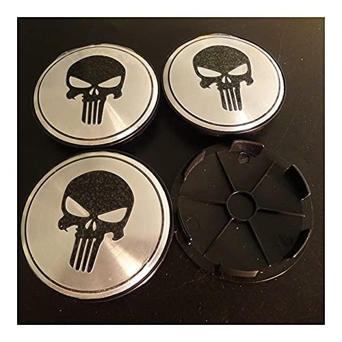 4 Unids 68mm Skull Punisher Coche Centro De Ruedas Hub Cap Batge Emblem Styling Accesorios (Color : Large)