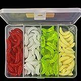 XQxiqi689sy 100Pcs 4 Colori Maggot GRUB all'aperto Pesca Esca Verme Silicone Soft Bait Str...
