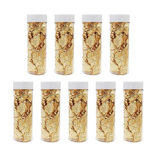Exceart 9pcs Gold Leaf Flakes Gold Flakes Facial Decorative Dishes Genuine Gold Leaf for Cooking Cakes Baking Chocolates Nail Art Makeup Decoration