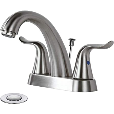 Wowow Bathroom Faucet 2 Handle 4 Inch Centerset Bathroom Sink Faucet Lead Free Basin Mixer Tap With Lift Rod Drain Stopper 2 Handle Centerset Lavatory Faucet Brushed Nickel Vanity Faucet Amazon Com