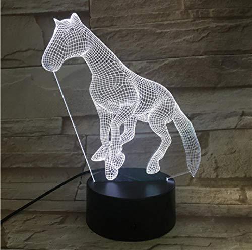 3D LED noche luz lámpara amigo bebé regalo noche USB o batería lámpara decorativa 7 colores caballo