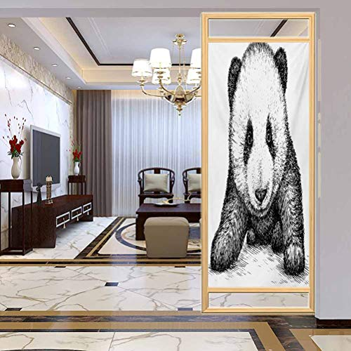 Static Cling Stained Glass Film Window, Panda Baby Panda Bear Illustration Sketch Style Artwork, Static Cling Decor Window Sticker for Home and Offic, W23.6xH78.7 Inch