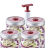 4-Pack of Fermentation Lids with Extractor Pump for Wide Mouth Mason Jar
