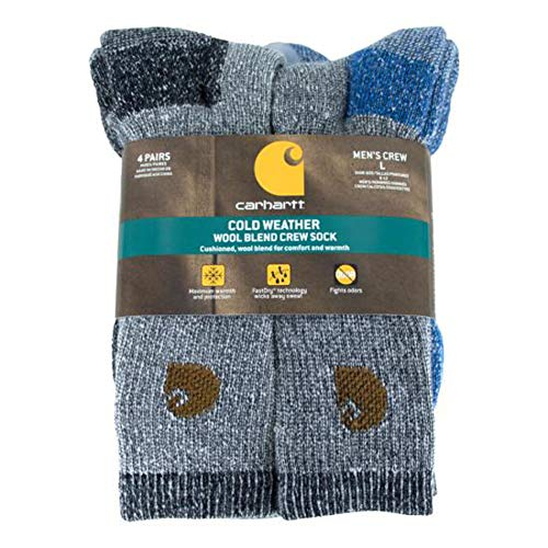 4 Pairs Men's Weatherproof Socks Wool Blend Outdoor Crew Socks Brown Olive
