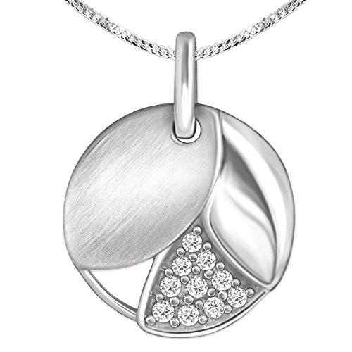 Slimme sieradenset zilver klein 3 messen in ronde hanger diameter 12 mm, gedeeltelijk open met 3 secties in glanzend en mat met zirkonia en stoeprand ketting 42 cm 925 sterling zilver