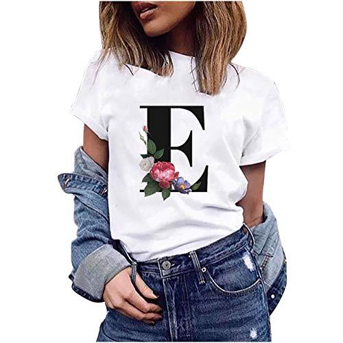 VEMOW Camiseta de Mujer Manga Corta Suelta con Cuello Redondo Talla Grande, Moda Impresión de 26 Letras Inglesas Basica Suelto Verano Camisa Tops Casual Fiesta T-Shirt para el Mejor Amigo(E,XL)