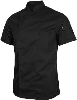 Chef Jackets Coat Short Sleeves, Premium Moister Wicking Fabric - Food Service Kitchen Uniform Apparels - Unisex - Black, XL