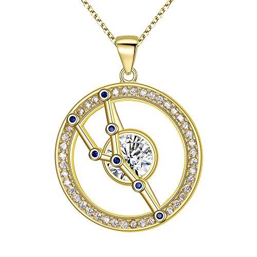 FANZE Mujer Plata de Ley 925 CZ Horóscopo Zodiaco 12 Constelación Colgante Collar Oro Regalo de Cumpleaños Joya