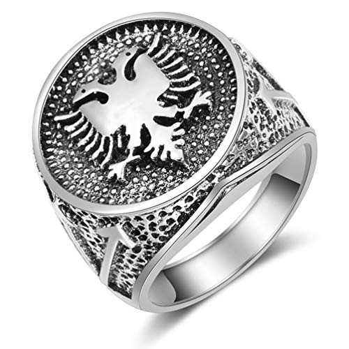 Vintage Punk Albanian Double Headed Eagle Ring,Silver Color Men Jewelry Signet Biker Rings,9