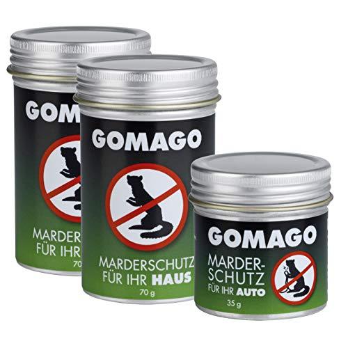 GOMAGO Marderschutz Set für Ihr Haus 4er Set | Zuverlässige und einfache Mardervergrämung durch Duftstoff | Alternative zu Marderschreck, Marderspray, Ultraschall u.ä. | Einfache Anwendung [4 x 70g]