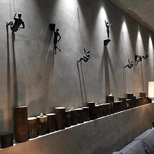 Wghz Estilo Industrial Escalada Hombre Resina Alambre de Hierro Decoración para Colgar en la Pared Escultura Figuras Creativo Retro...