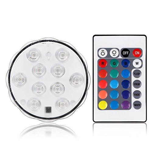 Phonleya Whirlpool Lichter, RGB 10-LED IP68 Wasserdichte Tauchdekoration Lampe mit Ir Fernbedienung mit Aaa Batterie (Nicht im Lieferumfang Enthalten) für Vase Basis Teich Schwimmbad