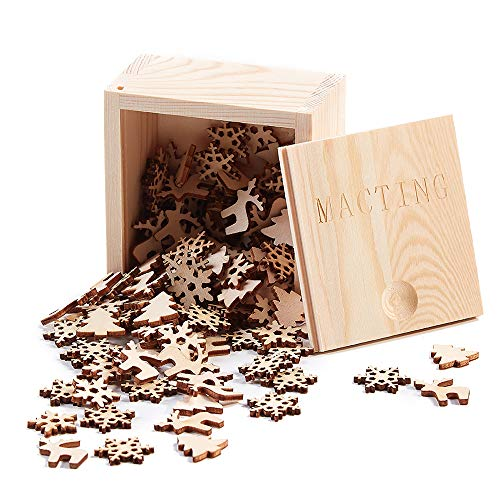 MACTING 150pcs 0.78' Unfinished Wood Christmas Ornaments - Mini Size Snowflakes, Bell, Deer, Trojan Horse, Christmas Tree Shaped Embellishments Ornaments Art Craft Christmas Decoration