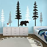 Large Forest Pine Tree with Bear Wall Decals...