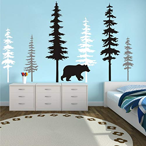 Large Forest Pine Tree with Bear Wall Decals Woodland Trees Wall Sticker for Nursery Room Art Kids Room Bedroom Decoration Forest Tree Animal Wall Mural (White +Gray+Black W/Bear)