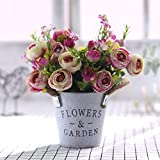 xgruisi Fleur Artificielle Fleurs Et Vases Artificiels Bricolage Jardin Décoration pour La Maison Rayon Bouquet De Roses (19Ème Couleur)