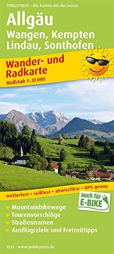 Allgäu, Wangen, Kempten, Lindau, Sonthofen: Wander- und Radkarte mit Ausflugszielen & Freizeittipps, wetterfest, reißfest, abwischbar, GPS-genau. 1:35000 (Wander- und Radkarte / WuRK)