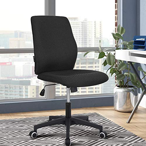 Office Desk Chair (2021 New) Armless Computer with Wheels Studio Mid Back Ergonomic Mesh Task Rolling Spinning Swivel Adjustable Desktop Conference No Arms Lumbar Support for Small Spaces Black