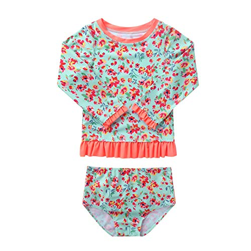 iiniim Infantil Ropa de Baño Bebé Niña Bañadores Manga Larga Niña Top+Braga Traje de Baño Verano Ropa de Playa Beachwear Verde 2-3 años