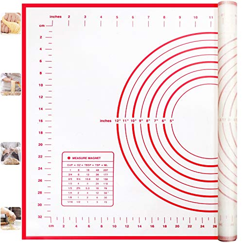 Silicone Pastry Mat, Dough Rolling Mat with Measurement, Non Stick Fondant Mat, Extra Thick Baking Mat, Non Slip Counter Mat, Easy Clean Kneading Matts, 16 x 24 Inches
