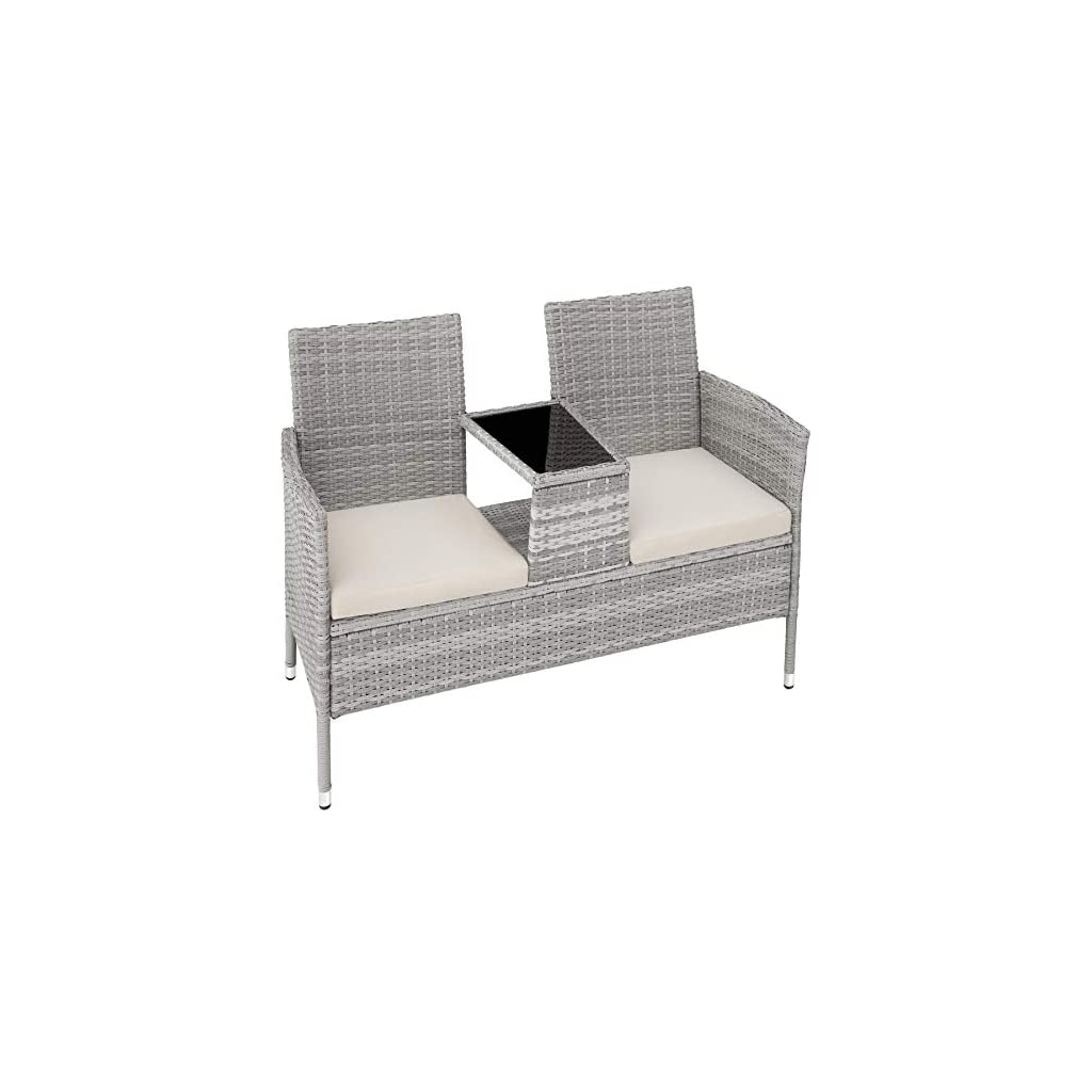 TecTake Salon de Jardin en résine tressée canapé Banc avec Table intégrée avec Verre de sécurité + Coussins – diverses…