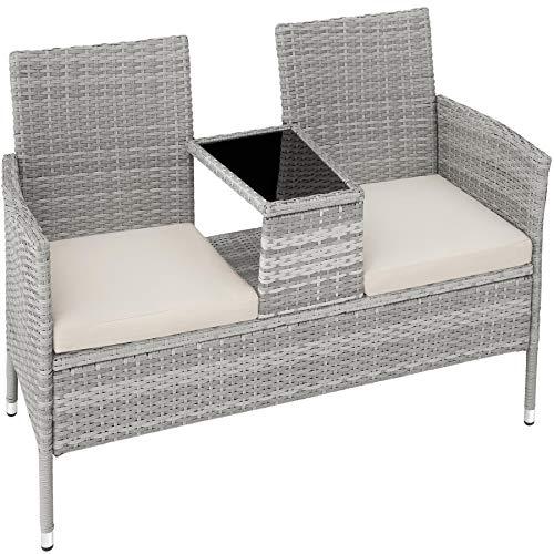 TecTake 403782 Polyrattan Gartensitzbank mit Tisch, 2-Sitzer, für Garten, Balkon und Terrasse, Füße aus Kunststoff, Gartenbank inkl. Sitzkissen, hellgrau