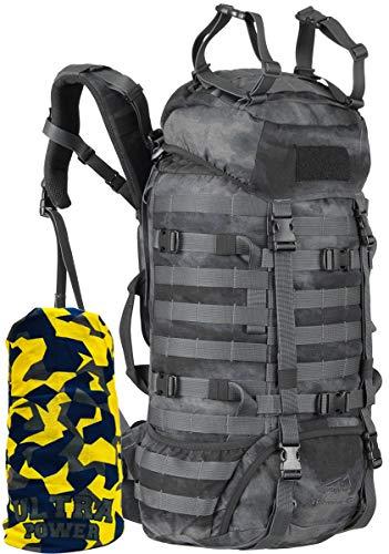 Wisport Outdoor Rucksack groß Damen & Herren I Bushrafting Survival Backpack für Teenager I Camping I Camp I Zelt I mit Regenhülle I Cordura I Camo I Raccoon 45L + Ultrapower Halstuch A-TACS LE