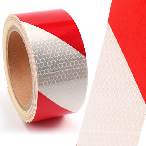 10M*5CM Warntafel Warnmarkierung Rot Weiss Streifen Reflektorband Reflexfolie Selbstklebend