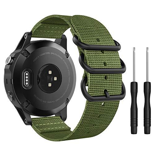 MoKo Pulsera Compatible con Fenix 5/5 Plus/Forerunner 935/945/Instinct, Correa Deportivo de Reloj de Nylon, Pulsera Ajustable con Cierre Clip, Respirable y Reemplazable (No Quick Fit) - Ejercito Verde