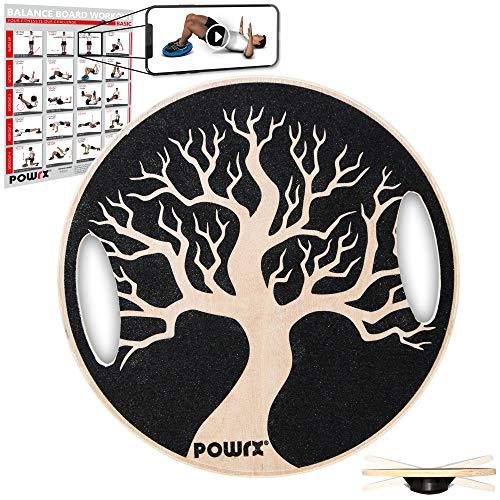 POWRX Balance Board avec poignées Pick-up en bois pour entraînement proprioceptif Physiothérapie thérapie gyro Ø 40cm