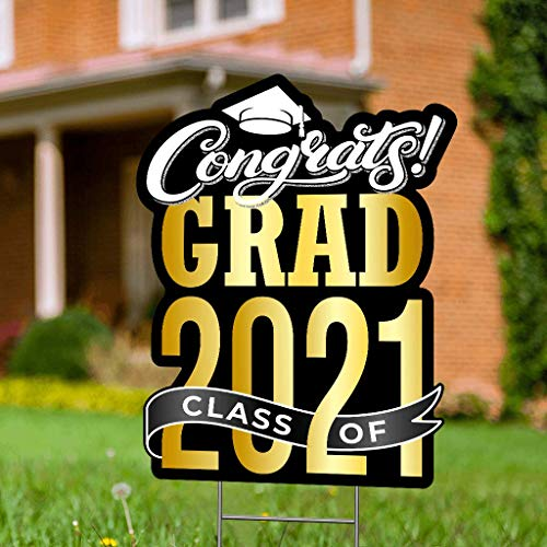 "Graduation Yard Sign with Stakes Included - 17"" x 13"" Black & Gold Graduation Lawn Sign - Black & Gold Happy Graduation Yard Sign - Outdoor Graduation Yard Decorations & Graduation Signs for Yard"