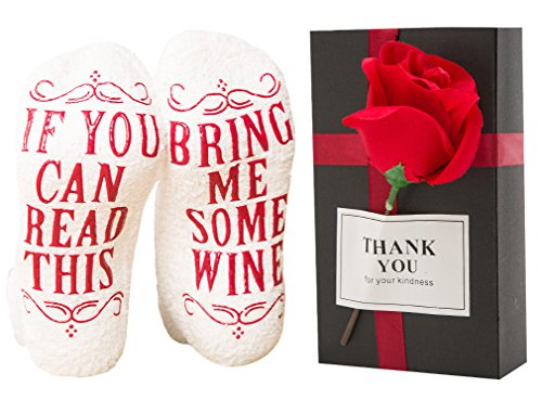 "Luxury wine socks+Elegant Gift Box With Artificial Silk French Rose Perfect Gift Idea ""If you can read this bring me some wine"" -Funny Wine Accessory For Women-Birthday,Housewarming Present"