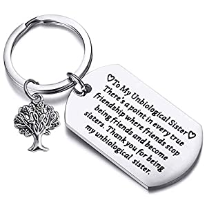 FUSTMW Unbiological Sister Gifts Thank You for Being My Unbiological Sister Keychain Friendship Jewelry Soul Sisters Gifts for BFF