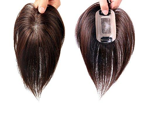 Remeehi Haarteil aus Echthaar zum Anklippen, 7,6x 10,2cm, ein Stück, hohe Qualität