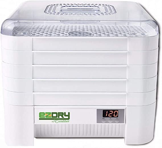 Excalibur ECB50B EZ Dry 5-Tray Stackable Electric Food Dehydrator With Temperature Control Featuring Heat Sensor Includes Mesh Screens, Yogurt Cups and Fruit Roll Sheets BPA Free, 5-Tray, Black