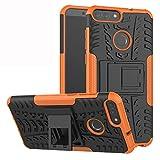 Labanema Huawei P Smart Custodia, Kickstand Dual Layer Ibrida Rigida Morbido Armatura Resistente agli Urti con Supporto e asportabile di Protezione per Huawei P Smart-Arancio