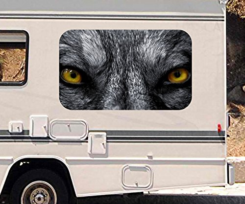 3D Autoaufkleber böser Wolf gelbe Augen Tier wild Gefahr Wohnmobil Auto KFZ Fenster Motorhaube Sticker Aufkleber 21A937, Größe 3D sticker:ca. 96x58cm