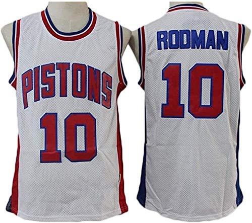 YCJL Camisetas De Baloncesto De La NBA para Hombre, Camisetas De Rodman # 10 Detroit Pistons, Camiseta Sin Mangas De Tela Transpirable Fresca Swingman, Ropa Superior,Blanco,M:170~175cm