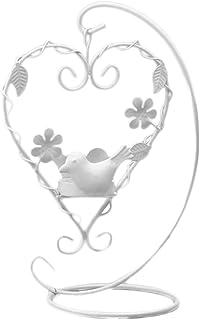 Haodou Candelabro de Hierro Vintage Decoración Candelabros Candelabro Candelabros Jaulas de Amor de Aves Decorativos para La Decoración Casera (Blanco)