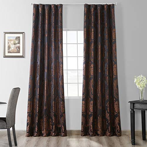 HPD Half Price Drapes Designer Damask Curtains for Room Decorations Faux Silk 50 X 96 (1 Panel), JQCH-201302-96, Black & Cognac