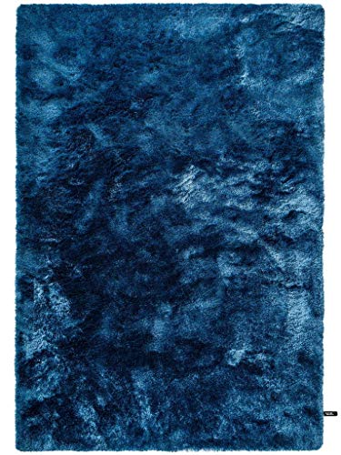 benuta Shaggy Hochflor Whisper Blau 80x150 cm | Langflor Teppich für Schlafzimmer und Wohnzimmer Alfombra, Poliéster, Azul, 80 x 150 cm