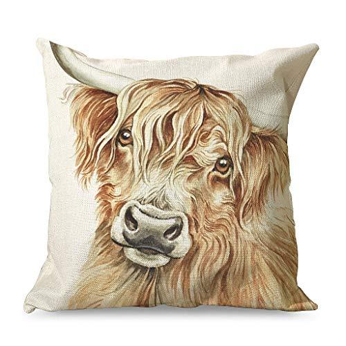 CCMugshop Funda de cojín decorativa con diseño de vacas de acuarela Highland para fiestas, color blanco, 45 x 45 cm