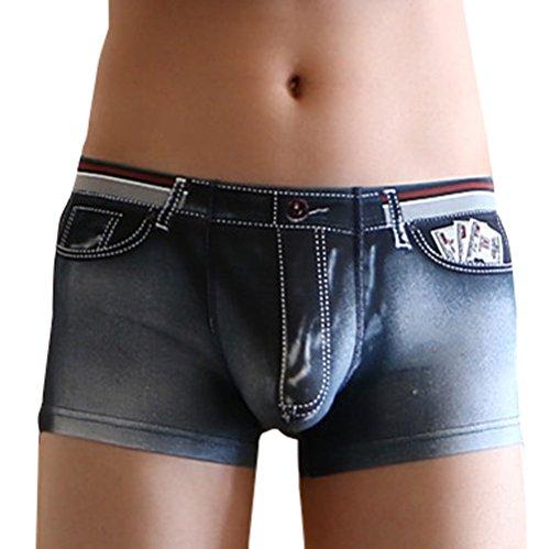 Calzoncillos para Hombre Nylon Stretch Mezclilla 3D Impresión Boxer Tendencia Masculina Ropa Interior Bóxer Sexys Shorts Masculinos(Gris,L)