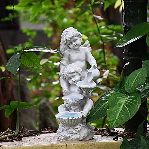 YXYOL Engels-Junge Ornamente Skulptur mit Solar Light, Hof Garten Einrichtung Crafts Villa Park Balkon Figuren Dekoration, auf dem Land Terrasse Balkon Dekoration
