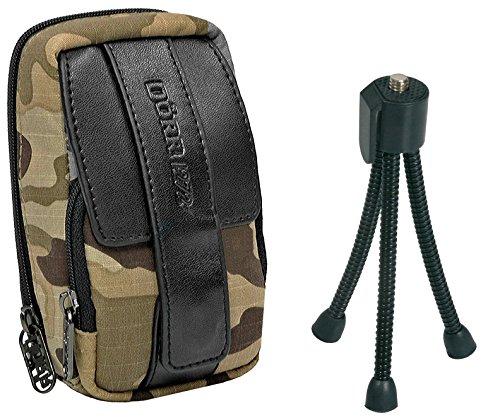 Fotocamera tas outdoor camouflage set met flexi statief voor SONY DSC- RX100 CyberShot DSC W830 WX350 / Canon IXUS 285 275 HS 180 175 / Panasonic Lumix DMC SZ10 / NIKON COOLPIX A300 A10