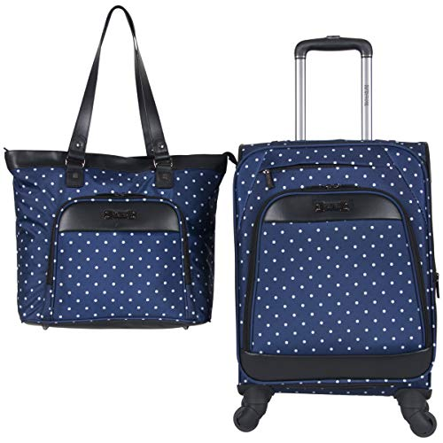 Kenneth Cole Reaction Dot Matrix 600d Polyester 2-Piece Luggage Set Laptop Tote, 20' Carry-on, Navy